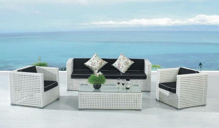 diseño moderno de muebles de rattan blanco