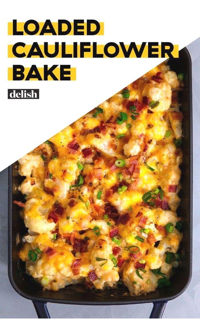 Loaded Cauliflower Bake Receitas Keto Acompanhamentos