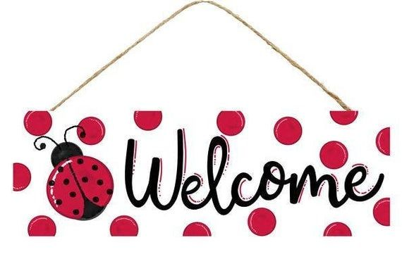 15L by 5H Welcome Ladybug Sign White Black and Red; AP803027.
