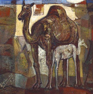 """""""Ibu dan anak (Unta)"""" by Widajat, Medium: oil on canvas, Size: 70cm x 70cm, Year: 1997"""