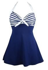 Retro Vintage Vibe Nautical Skirted Swimsuit-GoGetGlam