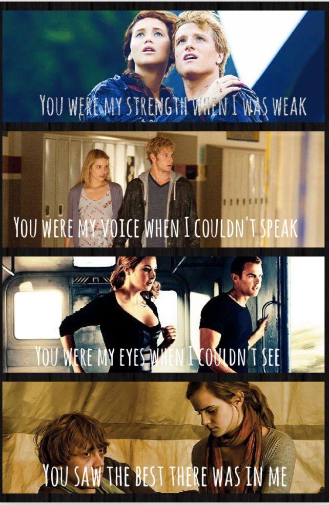 Katniss + Peeta = Hunger Games Sarah+ Four/John Smith= Lorien Legacies Tris+ Tobias= Divergent Hermione + Ron = Harry Potter Song = Because you loved me- Celine Dion