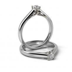Inel de logodna cu diamant Beckham din aur alb