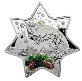 Рождественская звезда. Серебряная монета 2012 2 доллара Ниуэ Остров 2012 Монетный двор Польши Цена от 650 грн. Превосходный подарок на Новый Год