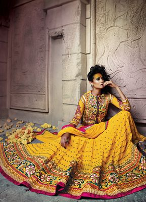 Yellow Embroidered Pure georgette unstitched lehenga