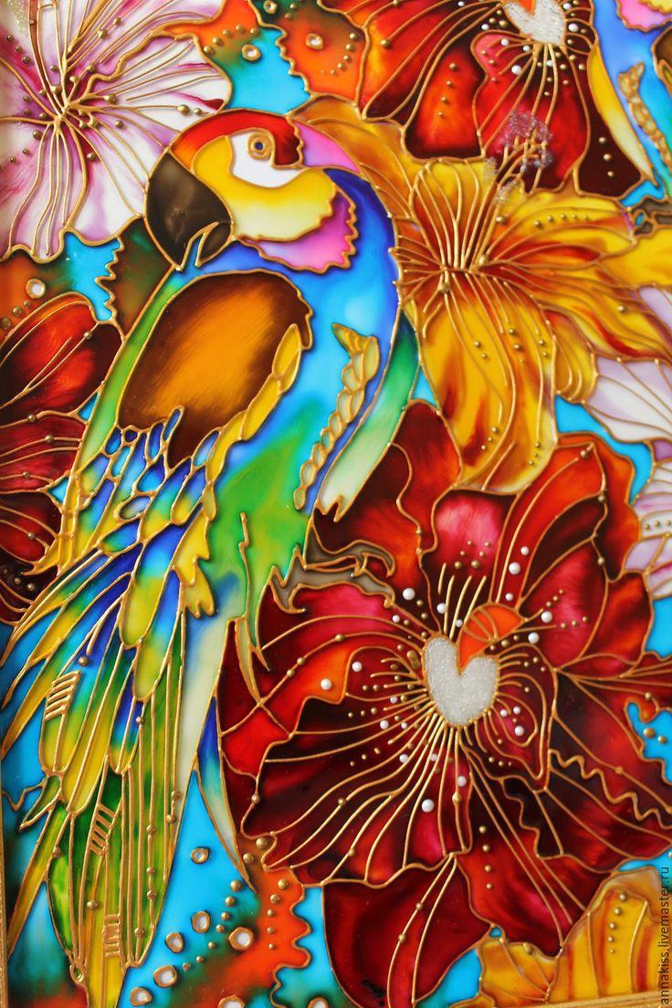 """Купить Картина """"Тропические попугаи"""" - комбинированный, попугай, цветы, картина в подарок, картина для интерьера"""