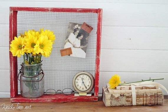 Vintage Wooden Chicken Nesting Crate with Wire Mesh Screen - Magnet Board