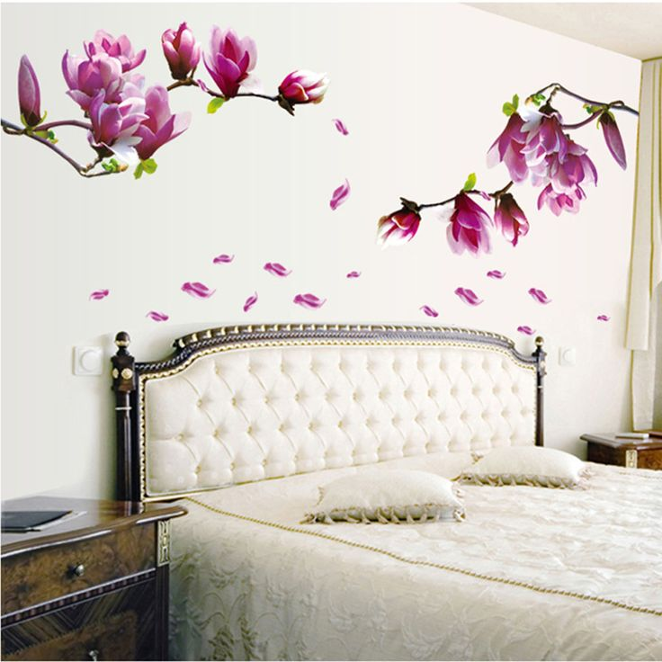 DIY Home Decoration Beautiful Mangnolia Flowers Removable Wall Art Decals Vinyl Sticker Wallpaper Mural Adesivo De Parede-in Wall Stickers from Home & Garden on Aliexpress.com | Alibaba Group