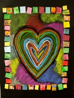 Jim Dine heart...oil pastel background first draw heart on top last color black, mount onto black also like painted squares border