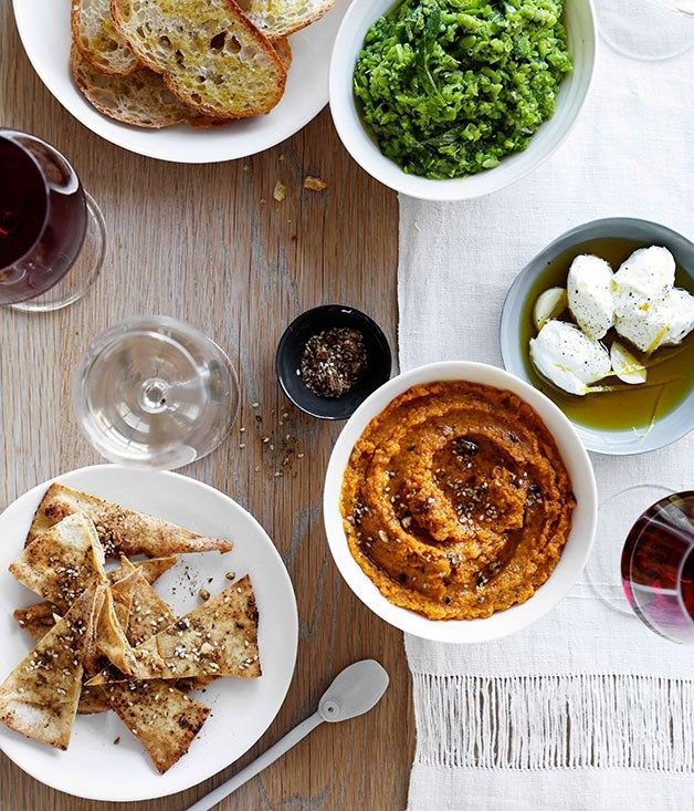 Recipe feature on dips and snacks including recipes for roast carrot dip with labne and crisp pitta bread, tuna dip with parmesan grissini and cured veal and taramasalata with salmon roe and black pepper water crackers.#yummy #recipe #taaty