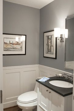 Pikes Peak Gray - Benjamin Moore. Traditional Powder Room by Larchmont Interior Designers Decorators