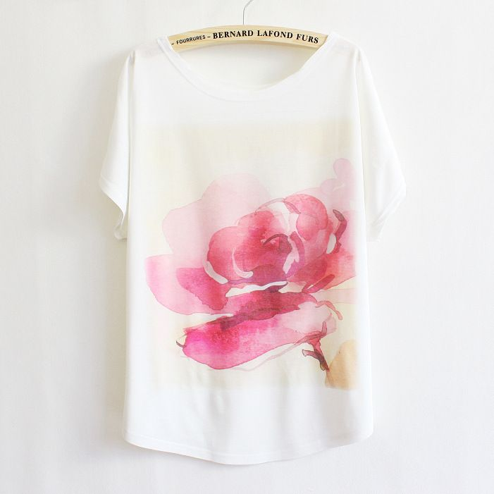 Big red flower print summer thin plus size loose women t-shirt batwing sleeve tee LBZ26 free shipping