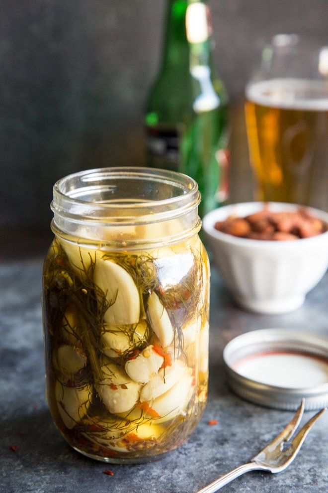 Pickled Garlic Recipe ~ If you love pickles and you love garlic, you just found a tasty new best friend. This Pickled Garlic Recipe also makes a great starter canning project! | Culinary Hill