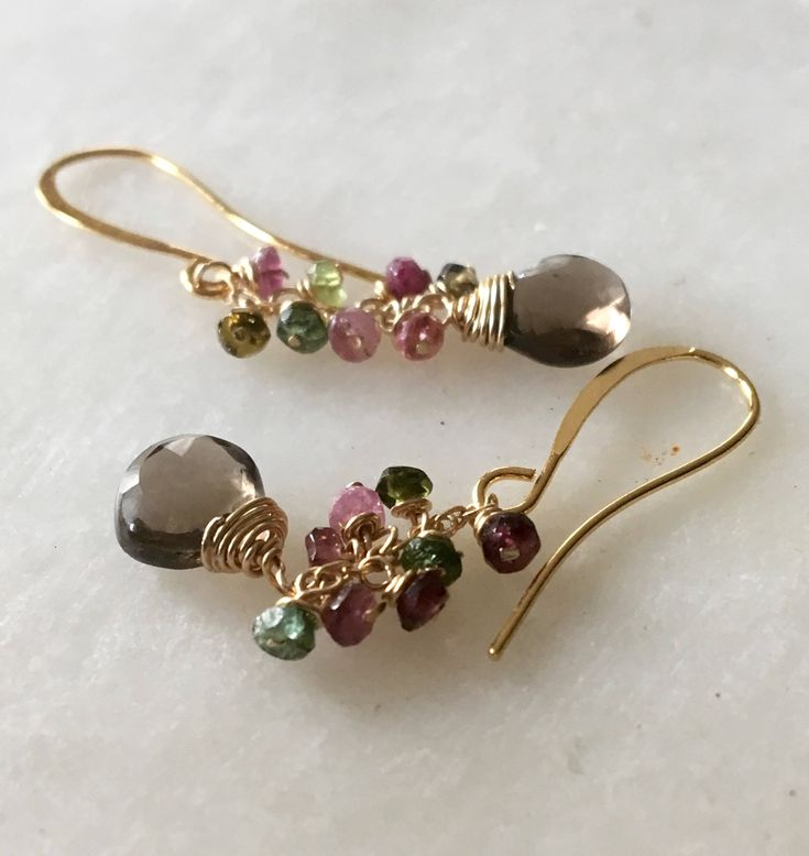 Excited to share the latest addition to my #etsy shop: Gemstone Earrings, Tourmaline Earrings, Cluster Earrings, Smoky Quartz Earrings, Thin Chain Dangle Earrings http://etsy.me/2nljctM #jewelry #earrings #gemstoneearrings #earringsgemstone #tourmalineearrings #pinktou