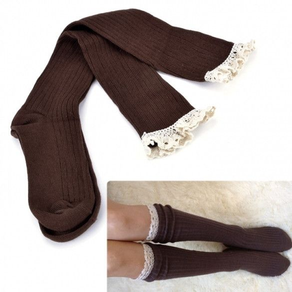 Womens Crochet Lace Trim Cotton Knit Footed Leg Warmers Boot Socks Knee High Stockings 5 Colors