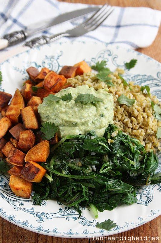 Plantaardige, vegan, veganistische en vegetarische recepten voor dierenwelzijn, je gezondheid, het milieu én wereldvoedselverdeling. D Rozeboom Freekeh met groene groentes en avocado tahin saus