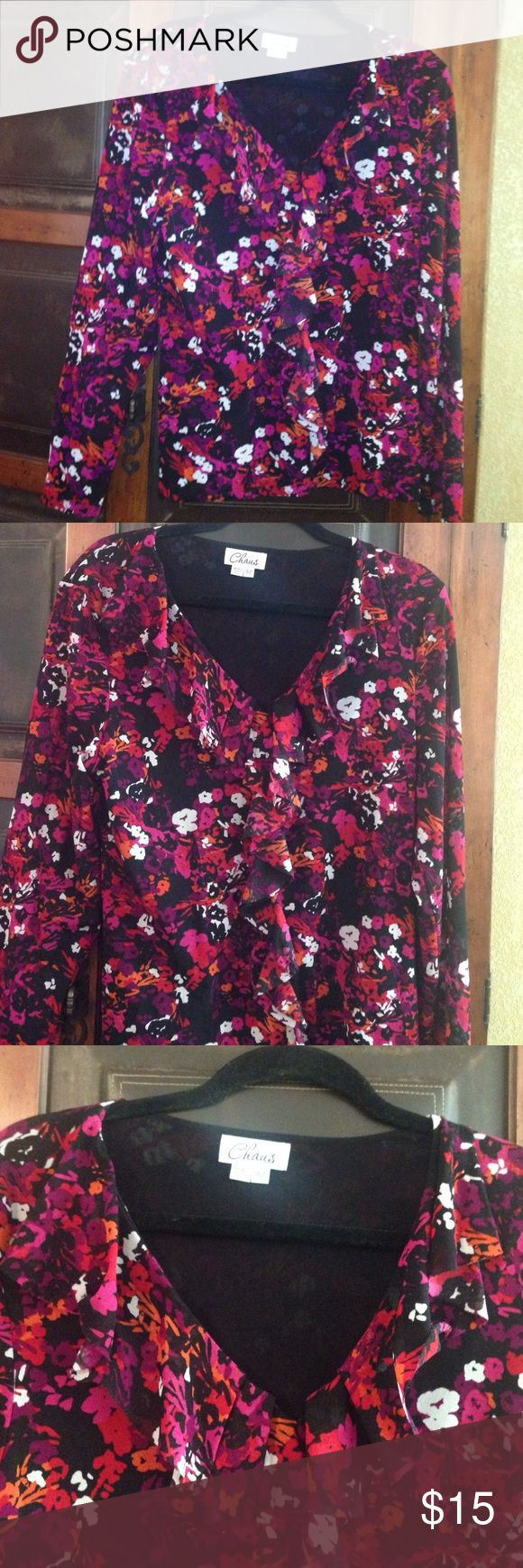 CHAUS Colorful Blouse Vibrant colored fuchsia, orange, and magenta floral long sleeved blouse// Size XL// 100% Nylon Chaus Tops Blouses