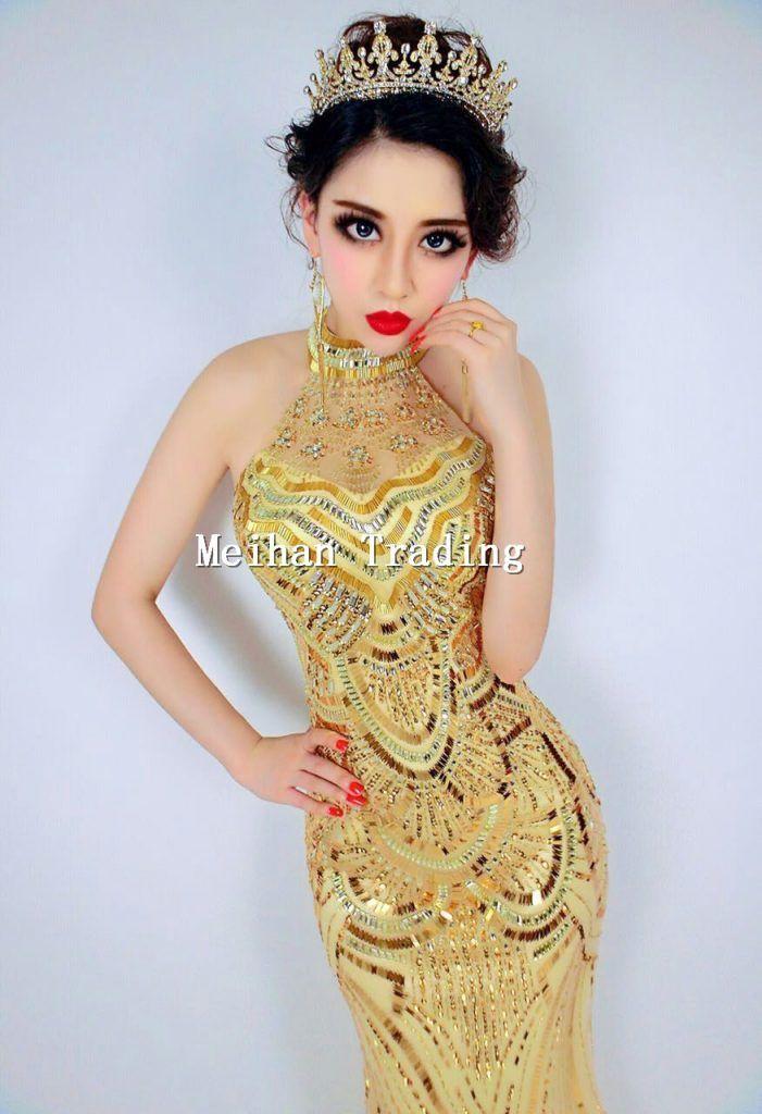 Gold Glisten Long Dress Crystals Sequined Party Celebrate Dresses Nightclub Wear Diamonds Women's Party Female Singer Dress