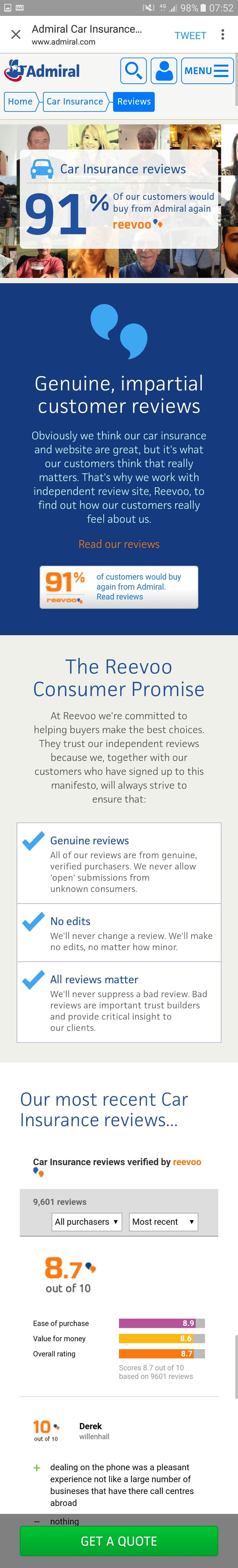 Admiral UK car insurance reviews mobile site