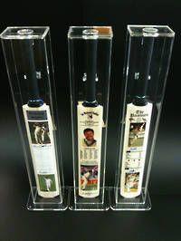Acrylic Cricket Bat Display Cases Sir Richard Hadlee - Signed 3x Cricket Bat Set