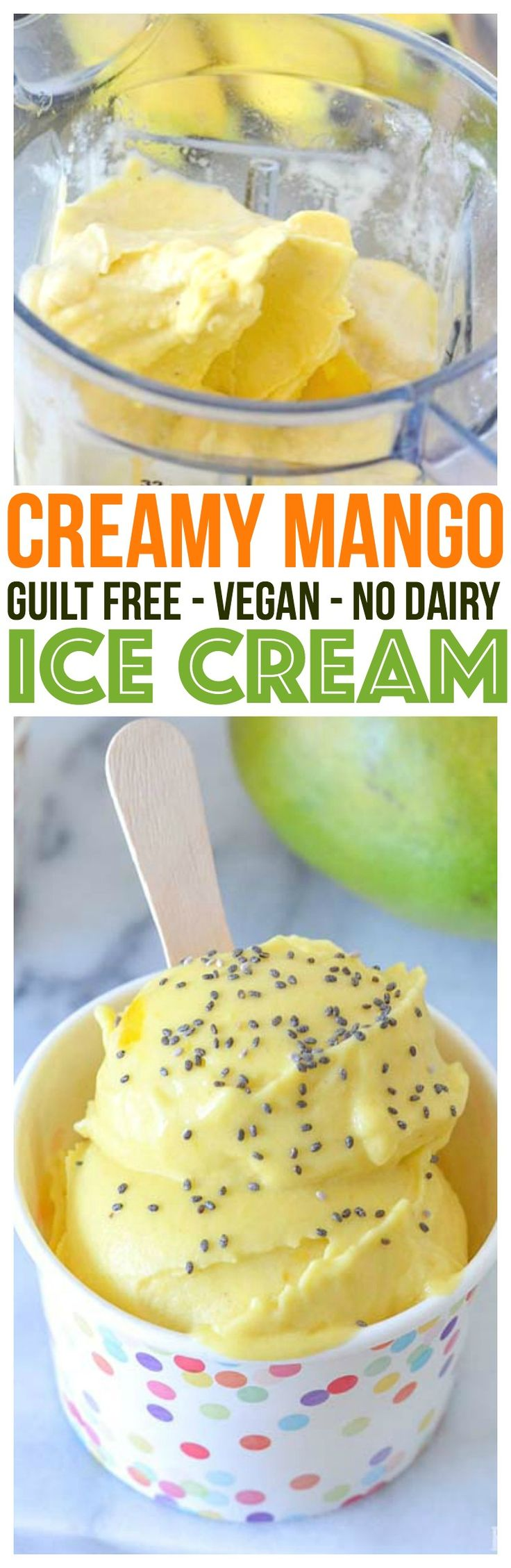 Vitamix Recipe Creamy Mango Ice Cream Recipe with healthy superfoods like chia seeds for ice cream sprinkles. Gluten Free, Dairy Free, Vegan Dessert.   via @KnowYourProduce