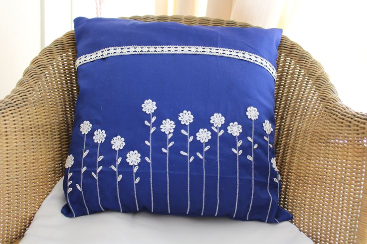 Royal blue cushion, Blue white cover, Kids room decor, Home decor, Pillow cover, 18x18 inches, Modern kids pillow, Bed, Couch, Throw pillow by JaxStarHome on Etsy