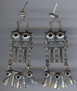 Mid century modernist owl earrings by Finnish jeweler, Pentti Sarpaneva.