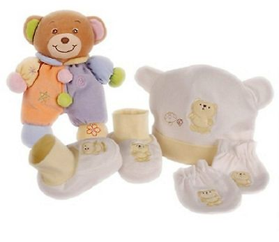 4 Piece Baby Boxed Gift Set - Beanie, Mittens, Booties with Multi coloured Bear
