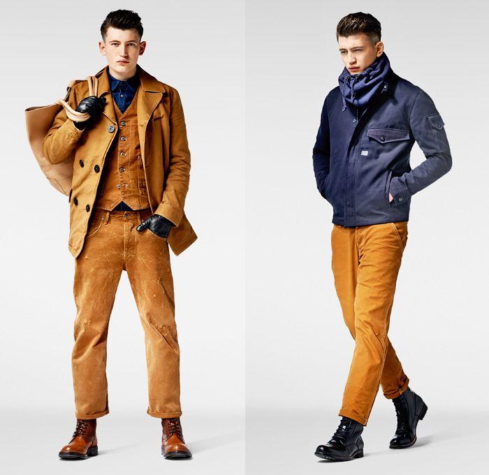 (01a) Davin Peacoat - Faroes Gilet - Grayson Straight - Tacom Shirt - (01b) Davin Zip Overshirt - G-Star RAW 2013-2014 Winter Mens Lookbook