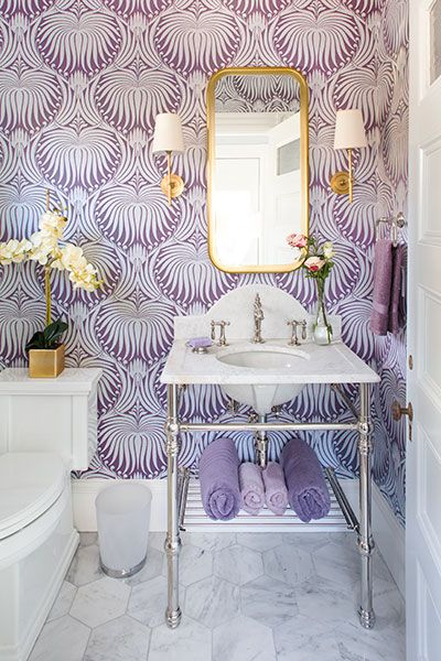 bathroom, glam, elegant, purple and white patterned wallpaper, marble tiled floor, silver and gold accents, sconces