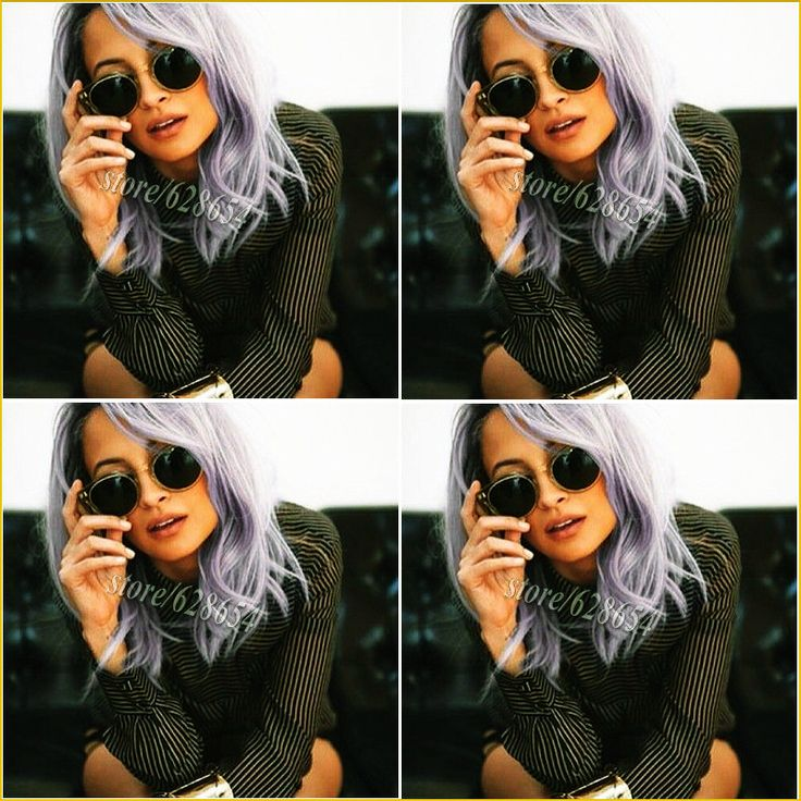 Nicole Richie's Purple Hair Kelly Osbourne lilac Pastel Purple Hair Short Bobs Glueless Synthetic Lace Front Wigs Heat Resistant