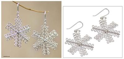 Sterling silver dangle earrings - Snowflake - NOVICA