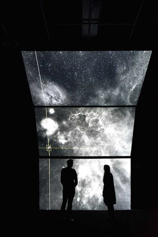 New solo exhibition by Ryoichi Kurokawa featuring the stunning 'constrained surface' and the 'unfold', new project exploring data taken from giant molecular clouds in space through beautifully visual and sonic environments that showcase the birth of stars.