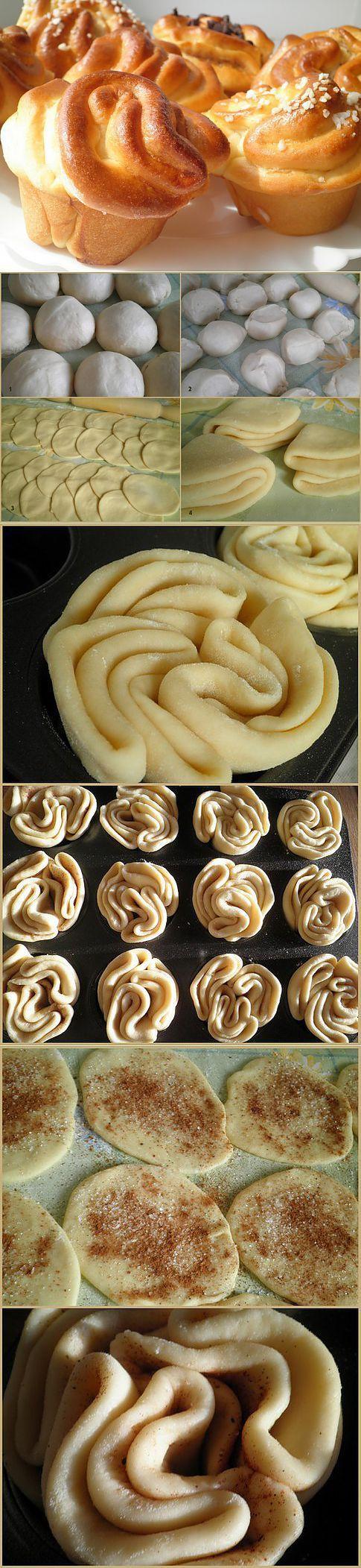 Muffin rózsák leveles v. kelt tésztából