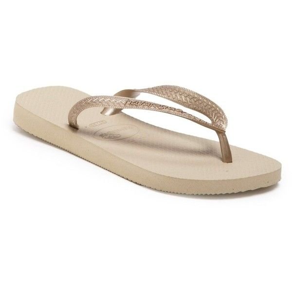 Havaianas Top Metallic Flip Flop (Women) ($9.97) ❤ liked on Polyvore featuring shoes, sandals, flip flops, strappy flip flops, slip on shoes, metallic strappy sandals, strappy shoes and metallic flip flops
