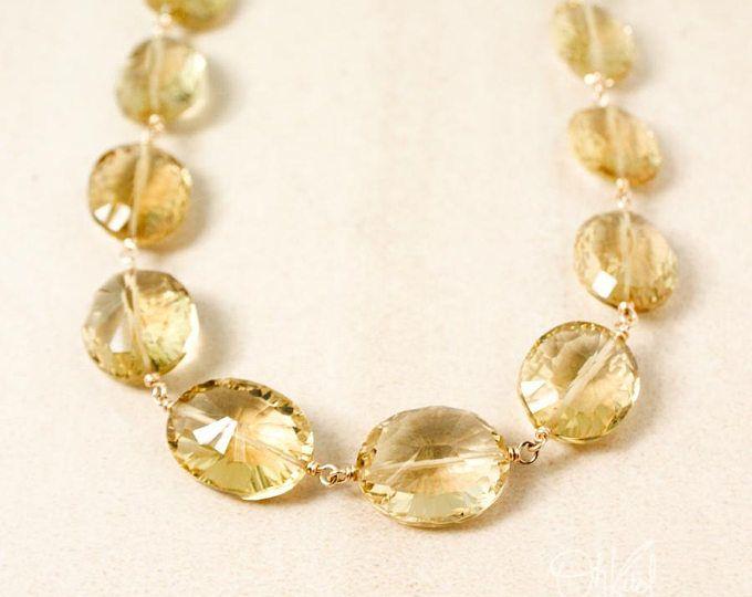 Gold Champagne Citrine Bib Necklace - Genuine Champagne Citrine Necklace - Diamond Cut Citrine Stones