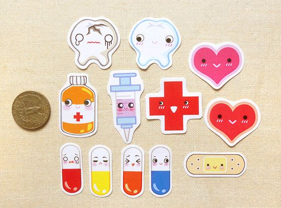 Cute Medical First Aid Kit Stickers | BeagleCakesArt. You can ask for a pack of a particular design. Yay!