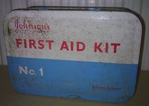 Vintage Medical Tin Johnsons Johnson's First Aid Kit No.1 with Contents Factory Office Work 1960s