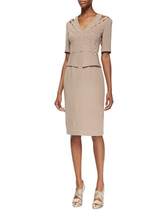 Morgan Silk-Blend V-Neck Dress, Taupe by Catherine Deane at Neiman Marcus.