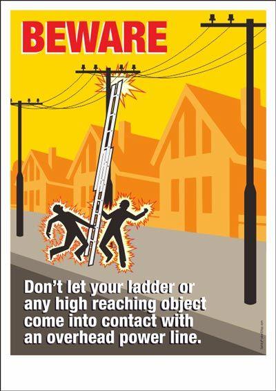 Beware of overhead power lines