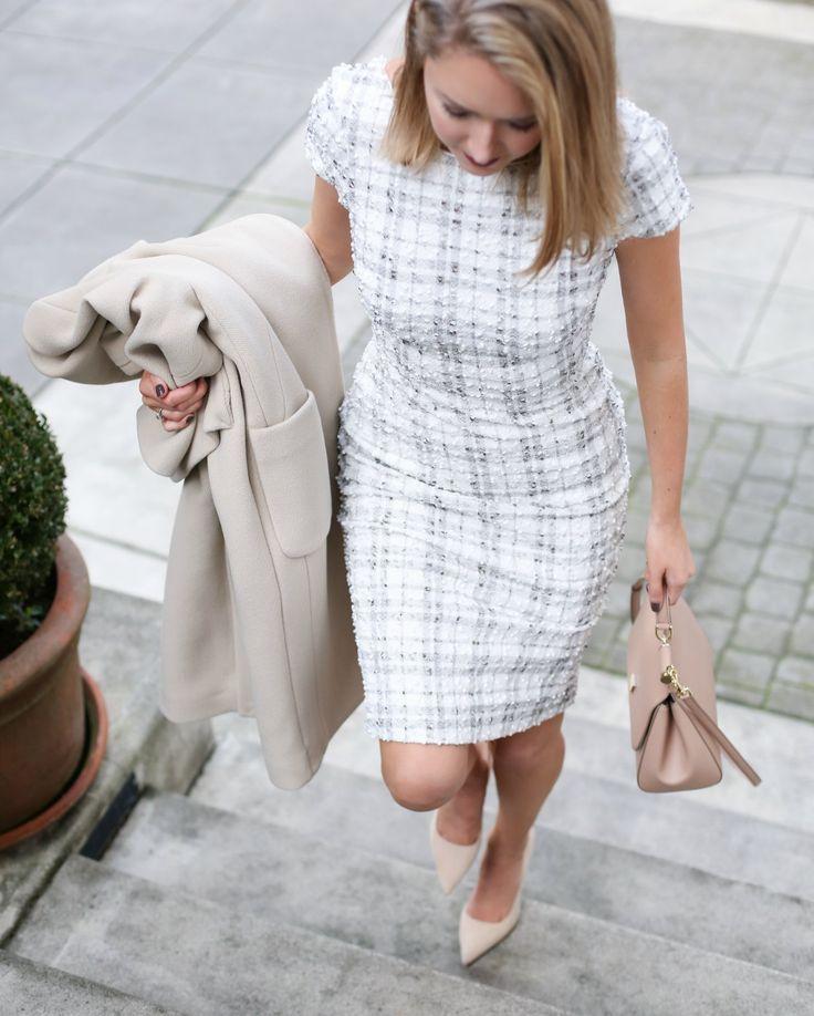 Ivory Plaid Sheath Dress - MEMORANDUM, formerly The Classy Cubicle
