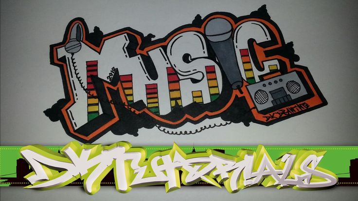 Step by step how to draw graffiti letters - Music - YouTube