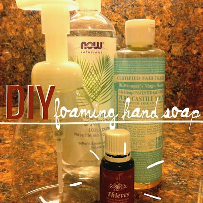 A foaming hand soap dispenser Add 2-3 Tablespoons of Liquid Castile Soap to  2.  Add 1/2 tsp vegetable glycerine or a few drops of vitamin E oil. 3.  Add 5-6 drops of Thieves  4.  Slowly fill your container with water.  Be sure to leave enough room for the large pump  5.  Gently shake to combine all ingtedients