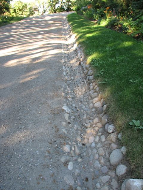 Stone lined drainage ditch