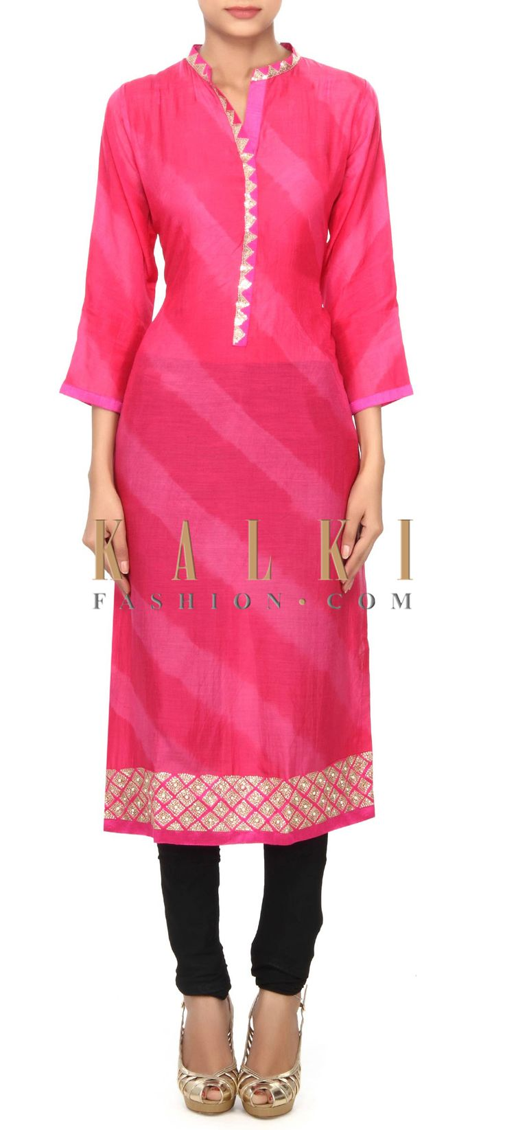 Buy Online from the link below. We ship worldwide (Free Shipping over US$100) Price- $59 Click Anywhere to Tag http://www.kalkifashion.com/pink-kurti-featuring-in-sequin-embroidery-only-on-kalki.html