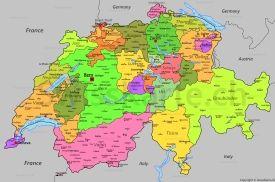 Karta Shvejcarii S Gorodami Shvejcariya Karta
