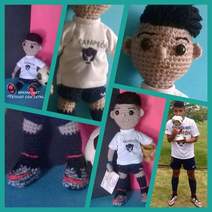 Muñeco amigurumi futbolista amigurumi muñecos a crochet personaliza a quien más quieras