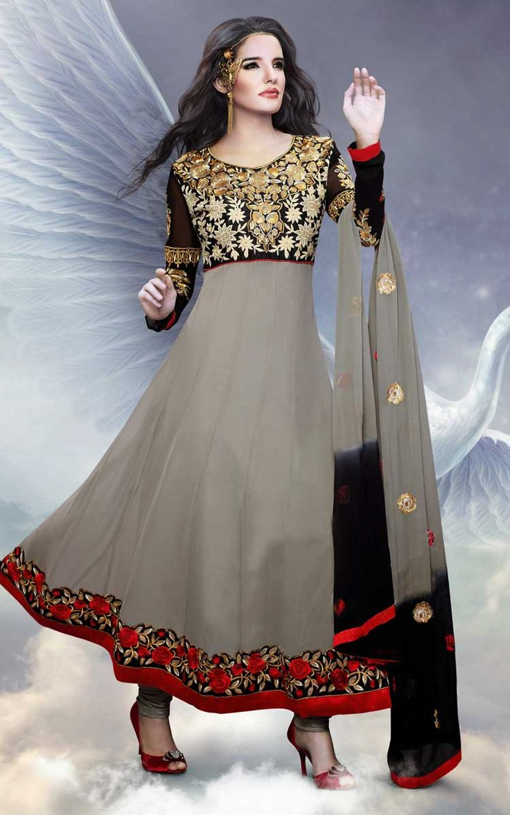 GREY & BLACK GEORGETTE ANARKALI SALWAR KAMEEZ - DIF 30152