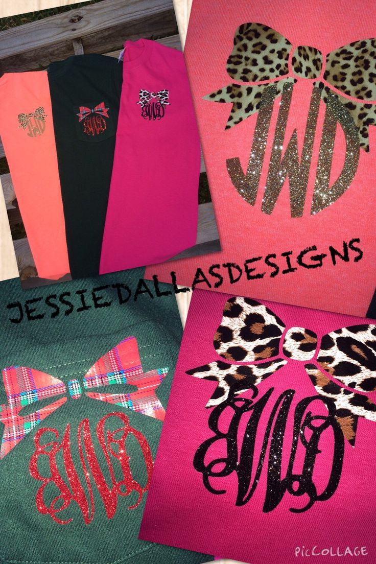Monogram shirt with plaid, leopard, or cheetah print bow by JessieDallasDesigns on Etsy https://www.etsy.com/listing/208673793/monogram-shirt-with-plaid-leopard-or