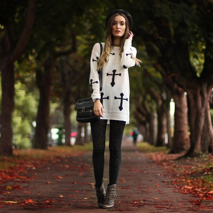 Shop this look on Kaleidoscope (sweater, leggings, bootie, hat)  http://kalei.do/WNyUD7Tu5a155EhJ